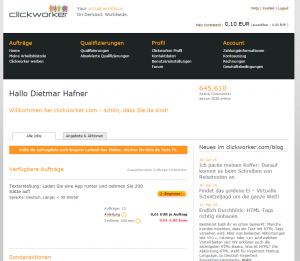 A screenshot of the Clickworker website