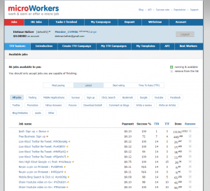 A screenshot of the Microworker website