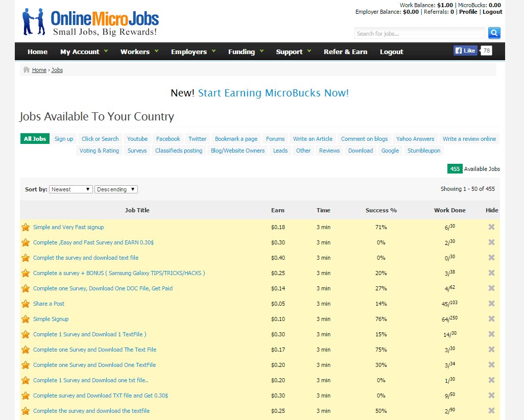 online micro jobs complete simple micro jobs for money a screenshot of the online micro jobs website