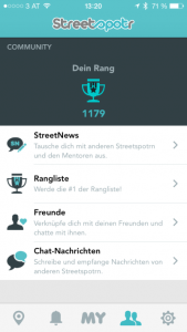 A screenshot of the Streetspotr app