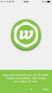 A screenshot of the WorkHub app