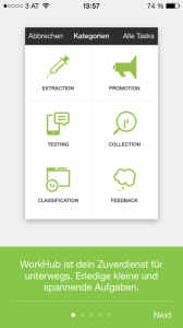 A screenshot of the WorkHup app